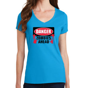 Zombies Ahead - Ladies V-Neck T Thumbnail