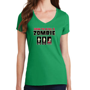 How to Kill a Zombie - Ladies V-Neck T Thumbnail
