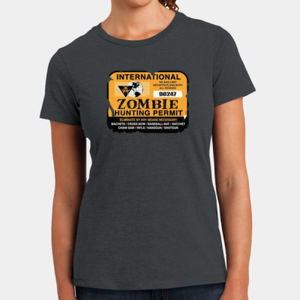 Zombie Hunting Permit - Ladies Perfect Blend T Thumbnail