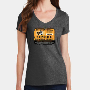Zombie Hunting Permit - Ladies V-Neck T Thumbnail