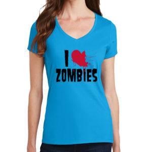 I Love Zombies - Ladies V-Neck T Thumbnail